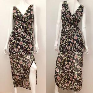 Sienna Sky Floral Sheer Sleeveless Maxi Dress